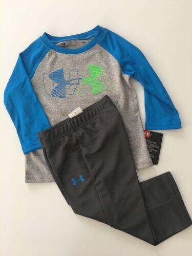 Under Armour Boys Long Sleeve Dri-fit Top Pants Set Size 12 18 Months 3T Grey