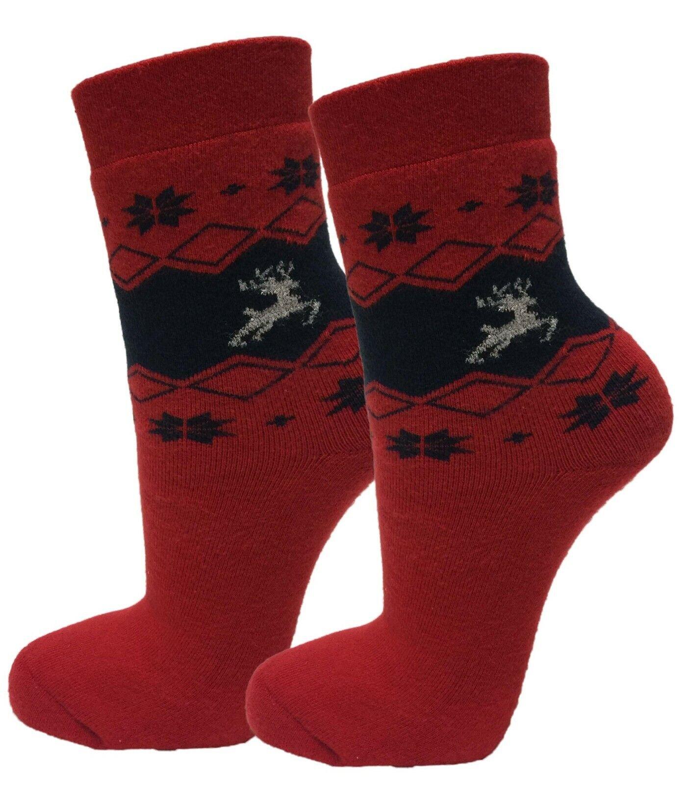 2 Paar Damen & Mädchen Thermo Winter Socken Strümpfe, Voll-Frottee, Neu
