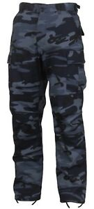 Mens-Midnight-Blue-Camouflage-Military-BDU-Cargo-Bottoms-Fatigue-Trouser-Pants