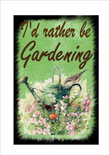 Vintage I'd rather be gardening Sign, Kitchen Garden Sign Gardening Sign