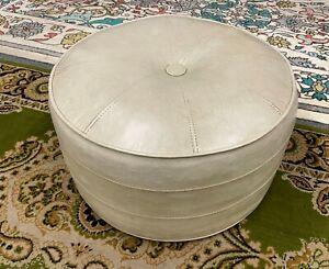 Vintage-22-034-Retro-Cream-Stitch-Faux-Leather-Mid-Century-Modern-Round-Foot-Stool