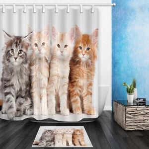 Image Is Loading Cat Theme Cute Little Kitten Shower Curtain Set