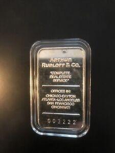 Rare Limited Arthur RUBLOFF & Co. Real Estate 1 Oz 999 Silver Art Bar In Cap