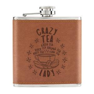 Crazy-The-Lady-Stars-170ml-Cuir-PU-Hip-Flasque-Brun-Maman-Girlfriend-Britannique