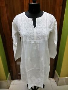 100% Vrai 2xs S M L Xl 2xl Kurta 100% Coton Top Handmade Ethnic Chikan Embroidery Kurti-afficher Le Titre D'origine
