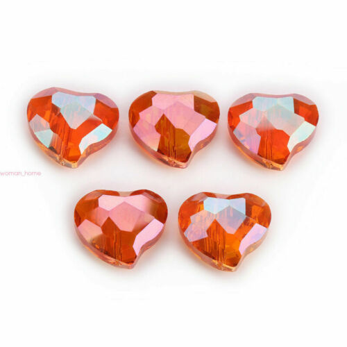 20x16mm Faceted Crystal Heart Glass Loose Spacer Beads Jewelry Making Crafts#Q