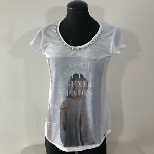 Details about Minhagrife Medium White True Style Never Fades Jewels Embellished Collar T Shirt