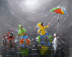 100-HAND-PAINTED-ART-ACRYLIC-OIL-PAINTING-CHILDEN-CITYSCAPE-FIGURE-16X20INCH