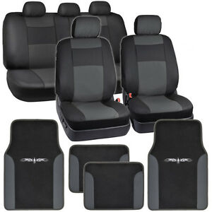 Synthetic-Leather-Car-Seat-Covers-Carpet-Floor-Mats-Black-Charcoal-Gray