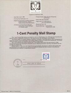 #8916 1c Official Mail Stamp #0143 USPS Souvenir Page