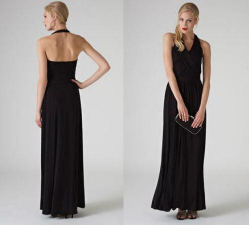New Monsoon Lindsey schwarz Halterneck Maxi Evening Dress sz 12 Wedding Coast