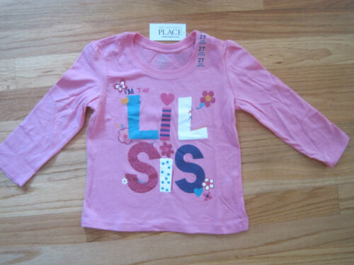 Toddler girl LIL SIS LITTLE SISTER PINK TOP SHIRT NWT 2T
