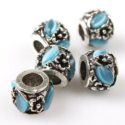 8/40pcs Cat's Eye Stone Cylinder Charms Silver Alloy Beads Fit European Bracelet