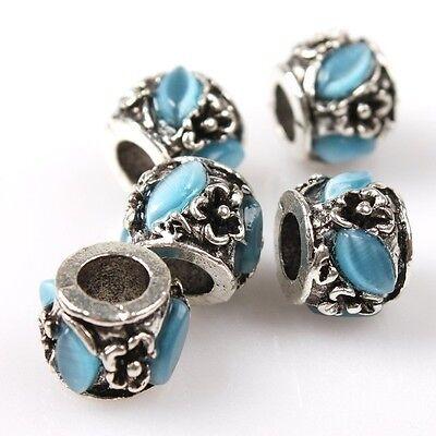 8/40pcs Cat's Eye Stone Cylinder Charms Silver Alloy Beads Fit European Bracelet