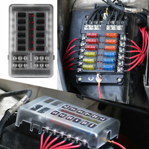 New-12Way-Blade-Fuse-Box-Bus-Bar-Car-Kit-With-Cover-Marine-FuseBox-Holder-12-32V