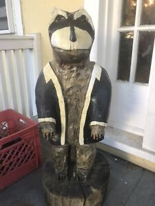 Unique-Wooden-Carved-Otter-Statue-Tall-32-034-Painted-Folk-Art-READ