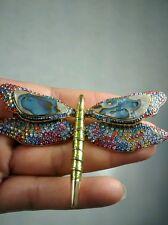 Pretty Joan Rivers  swarovski  crystal  dragonfly gold tone pin brooch