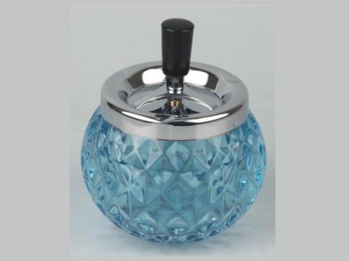 """4.72/"""" ** NEW ** 12cm SPINNING ASHTRAY CHROME // GLASS // BLUE"""