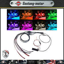 6x Motorcycle Led Lights Wireless Remote 18 Color Neon Glow Light Strips Kit
