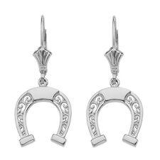 14K White Gold Open Filigree Arc Horseshoe Lucky Drop/Dangle Leverback Earrings
