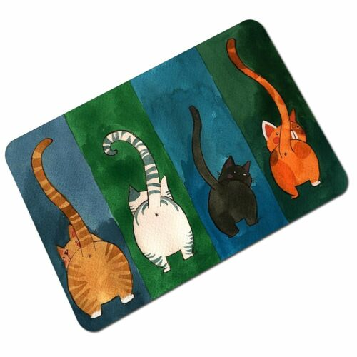 Fidosis Funny Four Cats Welcome Doormat Non-Slip Rubber Entrance  Mat Floor