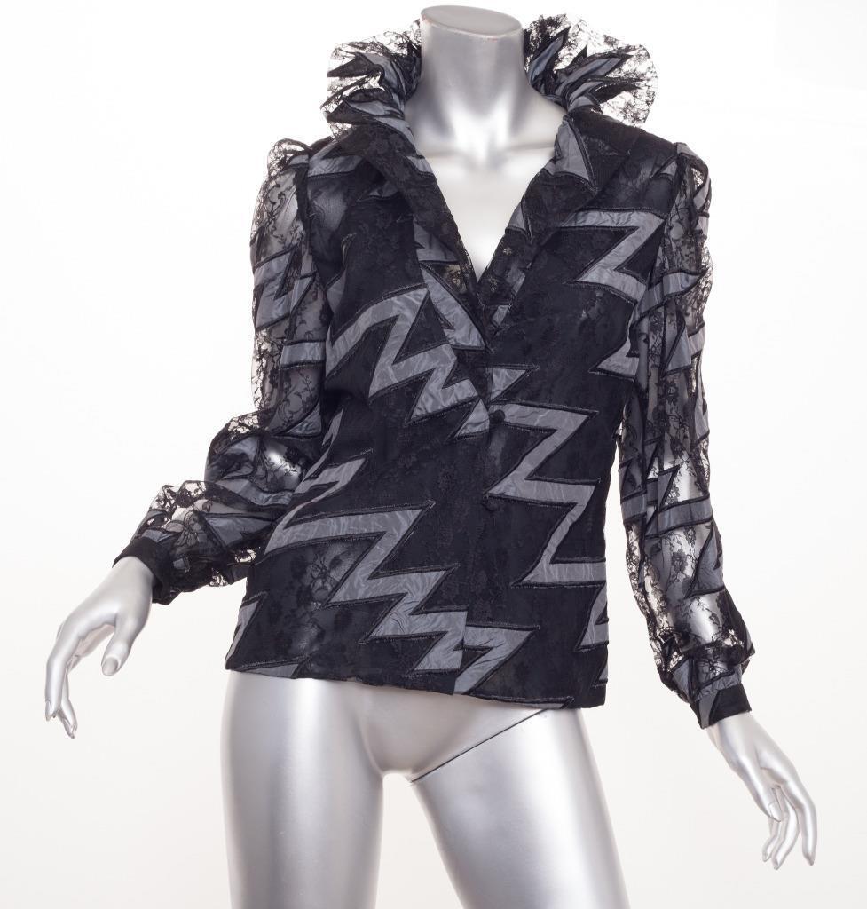 Carolina Herrera da Donna Donna Donna Vintage Pizzo Nero Manica Lunga Camicia Top Camicetta 89b5fb