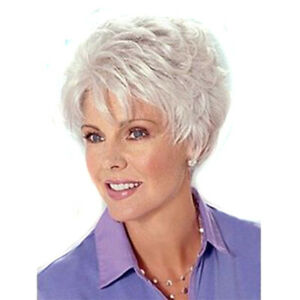 Fashion Short Wavy Hair White Wigs For Women Synthetic Pixie Cut Wigs With Bangs Ebay