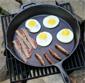 """Cast Iron Skillet 15/"""" Large Oven Frying Pan Pot Non Stick Cookware Pre-seasoned"""