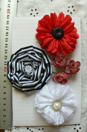RED BLACK /& WHITE Fabric Cotton Lace Organza 6 Flower Pk appr25-75mm Manor House