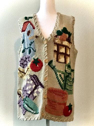 Details about  /Vtg 1994 Eagle/'s Eye Hand Knit Sweater Vest Sz S//P Barn Autumn Leaf Pumpkin Fall