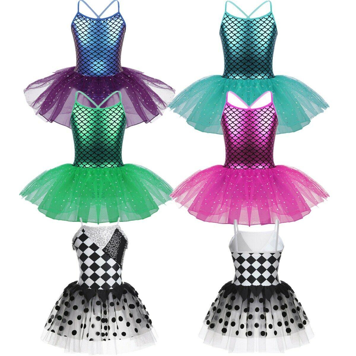 Girls Ballet Dance Tutu Dress Mermaid Ballerina Dancewear Gymnastics Leotards