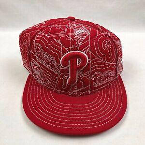 New-Era-Philadelphia-Phillies-Fitted-Hat-Cap-Red-Size-7-1-4-Baseball-MLB-Euc