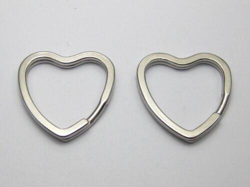10 Stainless Steel Heart Split Rings Key Rings 32X30mm Keychain Accessories