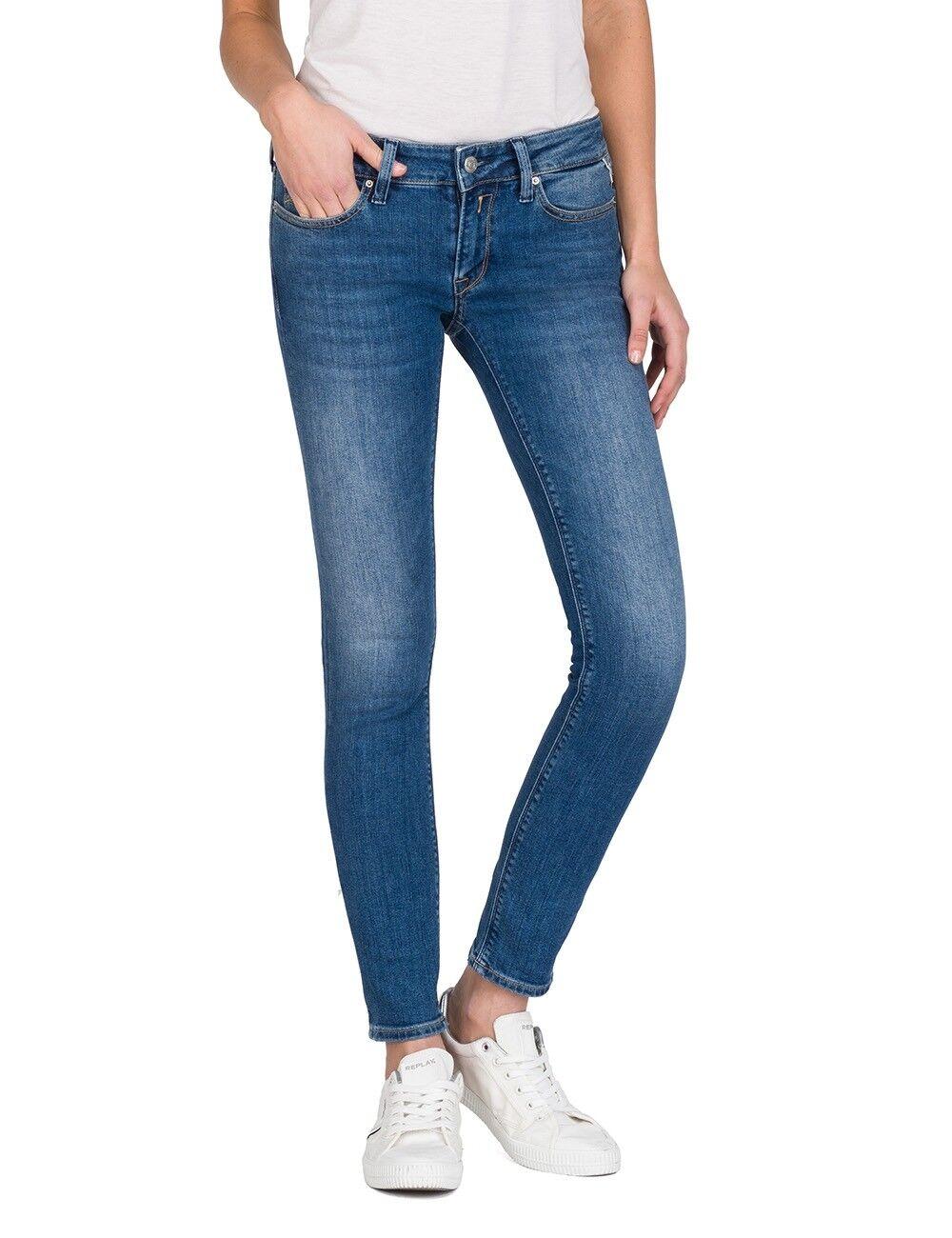 Replay Damen Jeans Luz - Skinny Fit - Blau - Medium Light