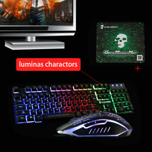 2ee098b18f1 Image is loading T6-Rainbow-Backlight-Gaming-Keyboard-Mouse-Mice-Pad-
