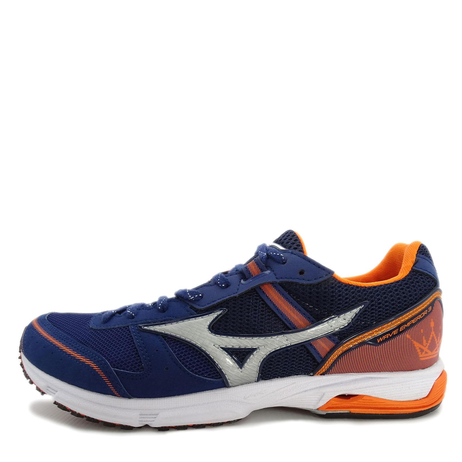 Mizuno Wave Emperor 3 Wide [J1GA187703] Men Running Shoes Navy/Silver-Orange