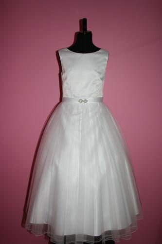 Olivia-136-New White Satin Tulle Communion Dress Flower Girl Dress size 6 to14.