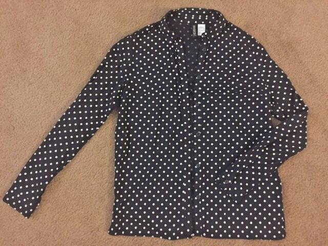 Divided By H M Button Down Polka Dot Navy Blue White Blouse Size 2