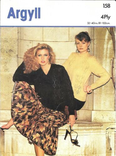 """Argyll 158 Vintage Knitting Pattern Ladies Sweater 4 ply 32-40/"""" Lacy classic"""