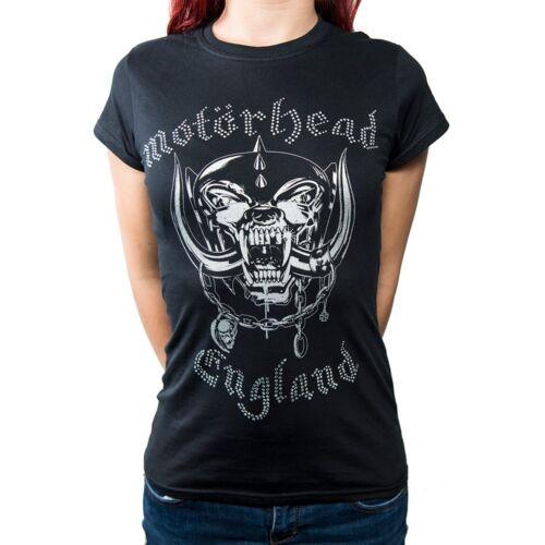 Small Women/'s Motorhead T-shirt Ladies Fashion Tee England Rhinestone