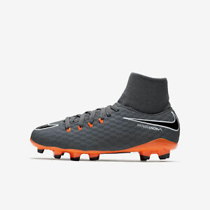 Nike Jr. Hypervenom Phantom 3 Academy DF FG Cleats Dark Grey Orange ... cb762975638