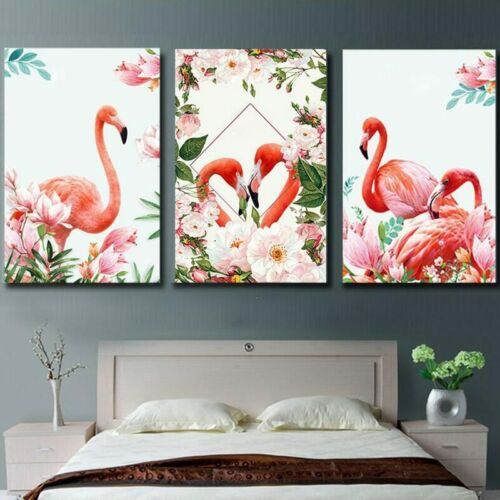 Flamingo Abstract Flower Art 3 PCS Canvas Printed Wall Poster Art Home Decor