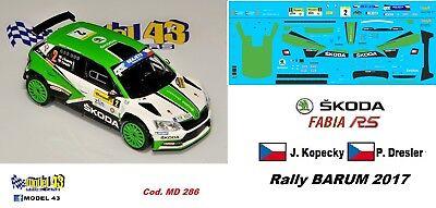 SKODA FABIA R5 Rally GERMANIA  2017 DECAL  1//43 Tidemand // Kopecky
