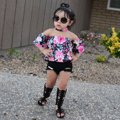 3PCS Kids Toddler Baby Girl Floral Off Shoulder Tops+Jeans Shorts Pants+Headband