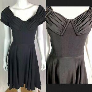 vintage 80's women's black corset midi fit  flare