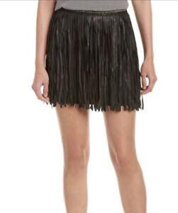 936486d1 Image is loading MLV-Black-Leather-Fringe-Beaded-Waist-Mini-Skirt-