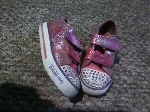 Girls Sketchers Twinkle Toes Light Up Pink Purple Stars