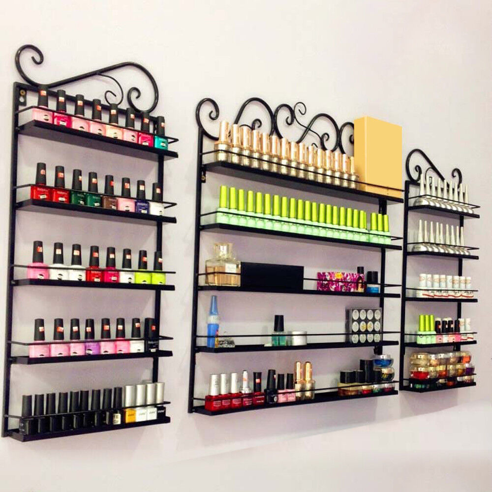 5 Tier Metal Nail Polish Display Organizer Wall Rack Holder Over 200 ...