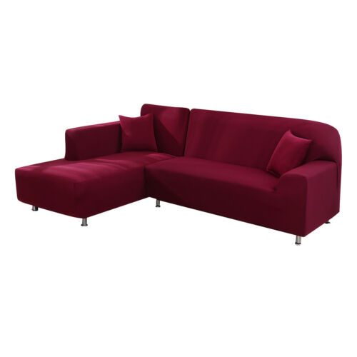 Slipcover L-Shaped Sofa Cover Stretch Corner Couch Solid Soft Furniture Cover UK