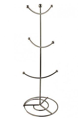 Metalilic Collection Classic Modern Silver Cup Mug Tree Mug Stand Rack Holder
